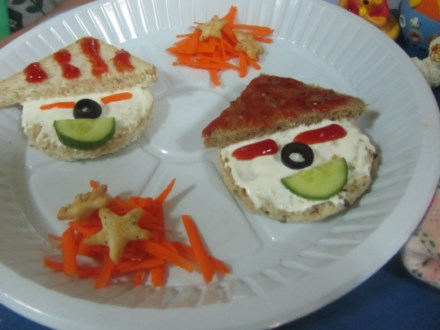 Cooking without fire the children were at their creative best and made lovely patterns on the hat with olives and ketchup our little chefs made the sandwich and then devoured forumfinder Choice Image